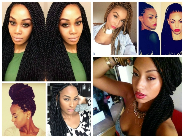 A collage of braid hairstyles