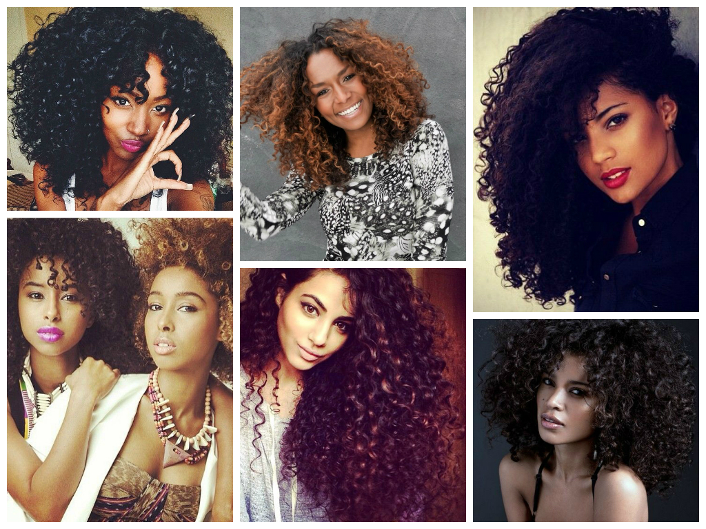 A collage of curly afro hairstyles
