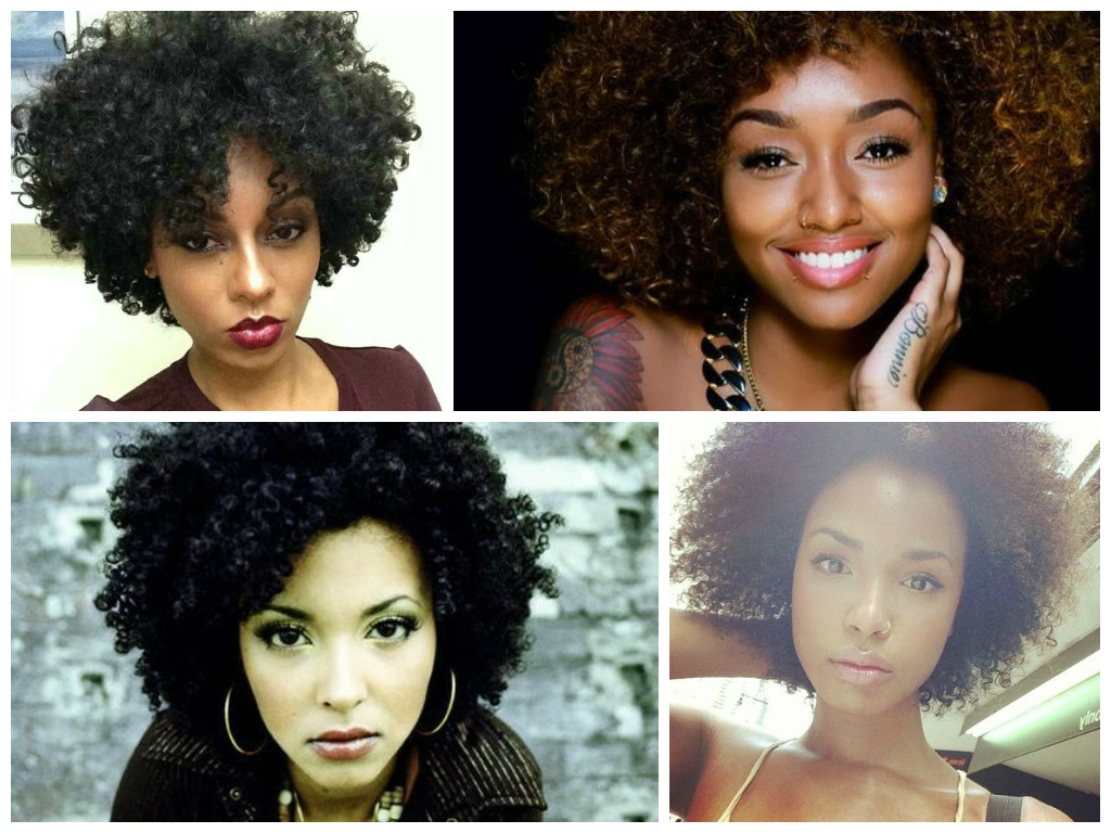 Collage of small afro hairstyles
